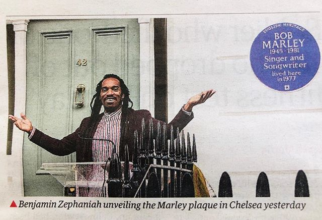 A beautiful thing took place a couple of days ago here in London. A blue plaque in honour of Bob Marley has been established on the wall of a house in Chelsea, where he once lived. Jah Rastafari!! Hail to the LION of reggae music!!! #bobmarley