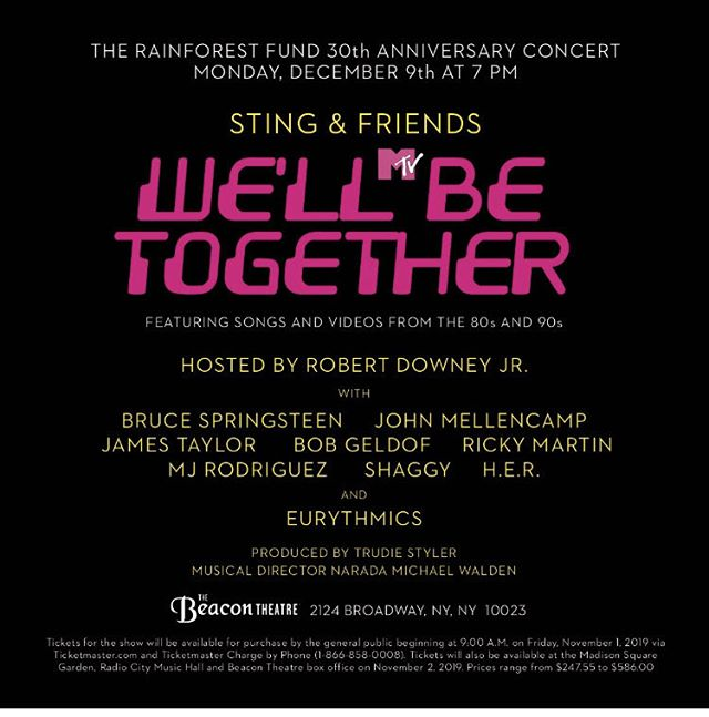 Well.. The Rainforest Fund is marking their 30th anniversary with a fundraising concert in NY City. Dave and I will perform together as the theme is based on 80's MTV .. Good Lord.. where did THAT go??!!!